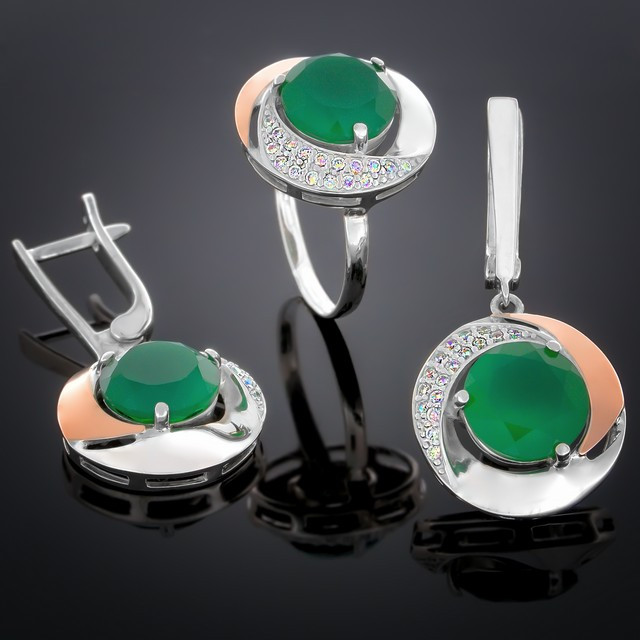Женский комплект украшений 189 Агат Зеленый Rhodium