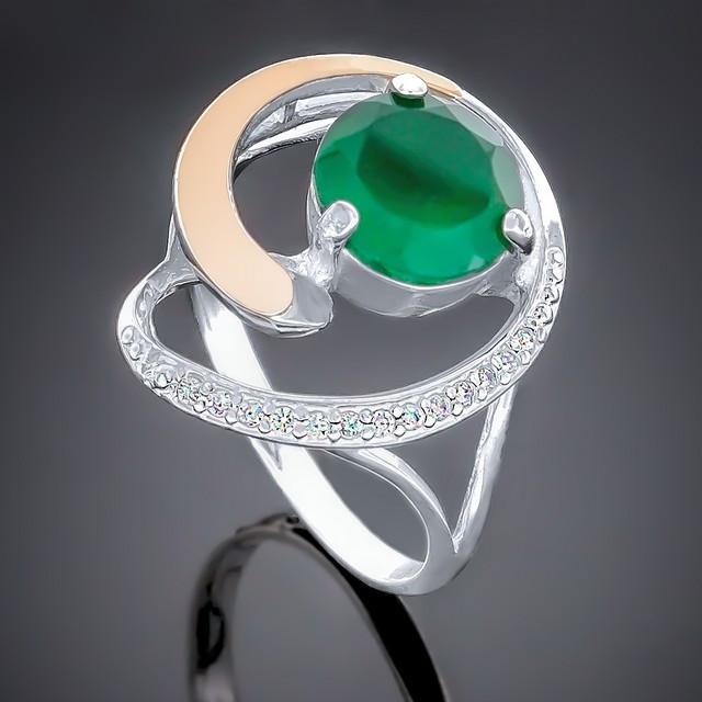 Колечко 192 Агат Зеленый Rhodium