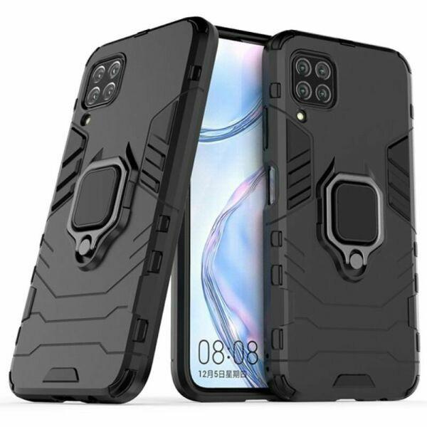 Чехол Ring case для Huawei P40 Lite бронированный бампер с кольцом черный