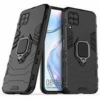 Чохол Ring case для Huawei P40 Lite броньований бампер з кільцем чорний, фото 1