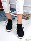 Женские кроссовки текстильные черные, белые, красные, фото 4