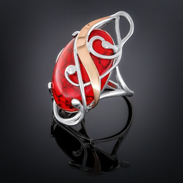Колечко 295 Коралл Красный Rhodium