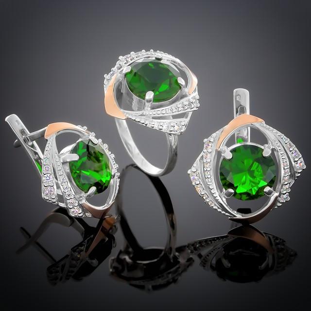 Женский комплект украшений 298 Альпініт Зеленый Rhodium