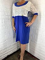 Платье женское батал Annive голубое  56
