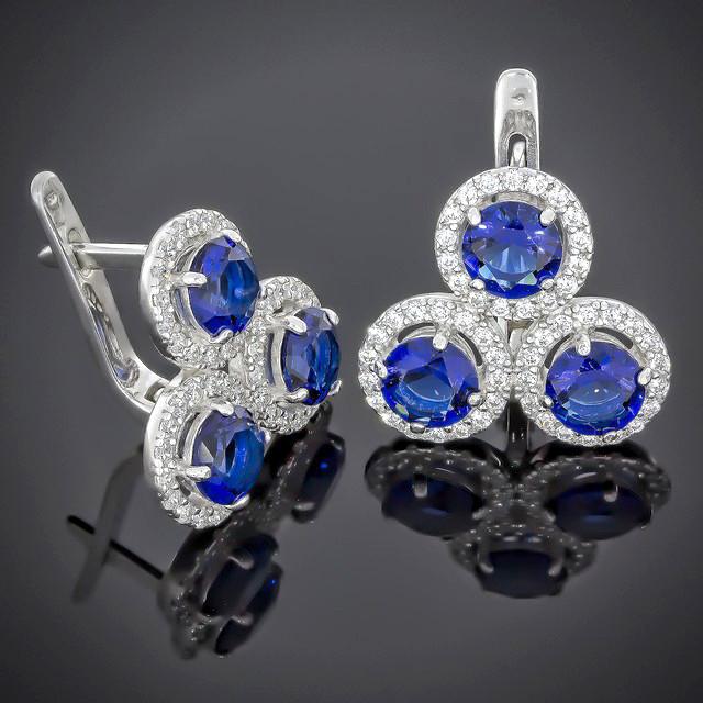 Сережки 565 Альпініт Синій Rhodium