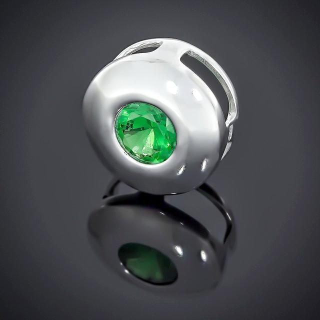 Кулон 566 Альпініт Зелений Rhodium