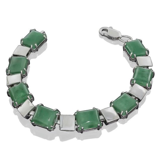 Браслет Quadro 595 Авантюрин зеленый Rhodium