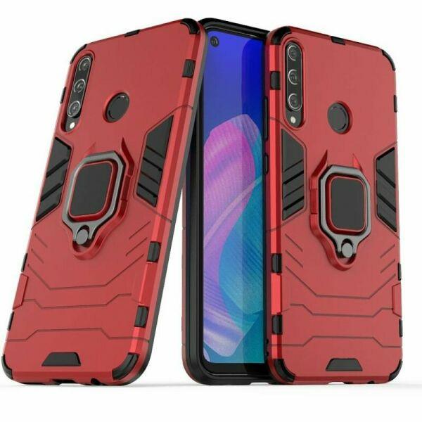 Чохол Ring case для Huawei P40 Lite E броньований бампер з кільцем червоний
