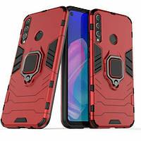 Чохол Ring case для Huawei P40 Lite E броньований бампер з кільцем червоний, фото 1