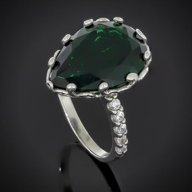 Колечко Lady Di Emerald 602 Rhodium