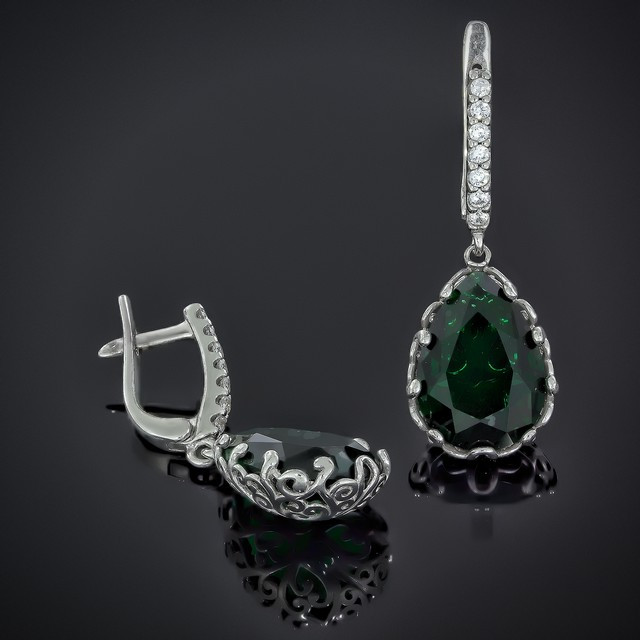 Серьги Lady Di Emerald 602 Rhodium