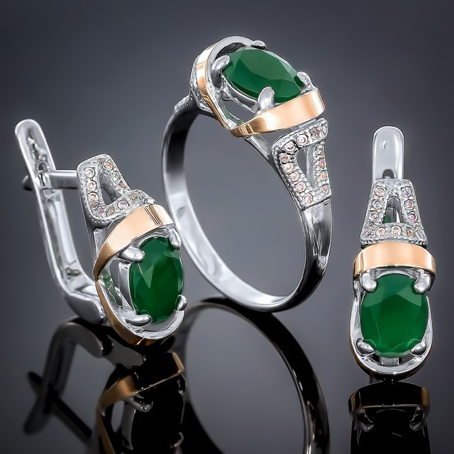 Женский комплект украшений 404 Агат Зеленый Rhodium