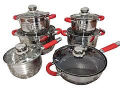 Набор посуды German Family GF-2024 красные силиконовые ручки 12 предметов,  9- слойная нержавейка