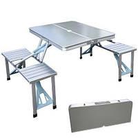 Складной туристический стол Aluminium Picnic Rainberg RB-9302 со скамейками в чемодане для пикника