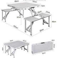 Складной туристический стол Aluminium Picnic Rainberg RB-9302 со скамейками в чемодане, фото 2