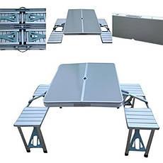 Складной туристический стол Aluminium Picnic Rainberg RB-9302 со скамейками в чемодане, фото 3