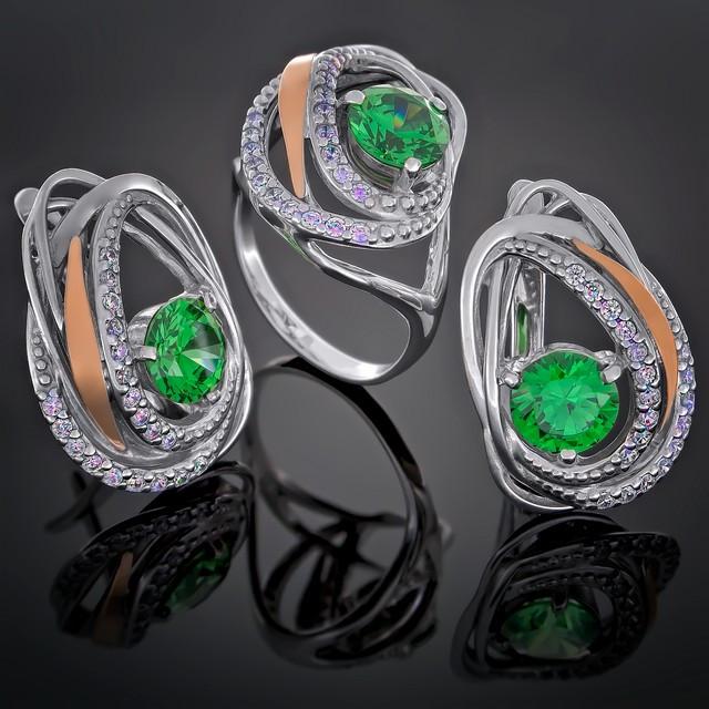 Женский комплект украшений 402 Зеленый Rhodium