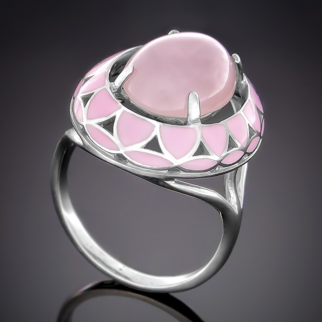Колечко 401 Кварц Розовый Rhodium