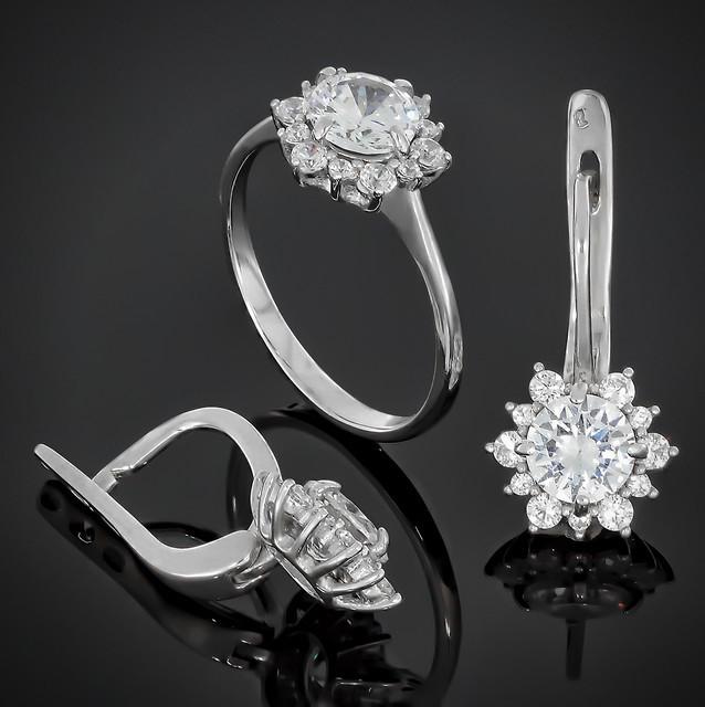 Женский комплект украшений Crystal 622 White  Rhodium