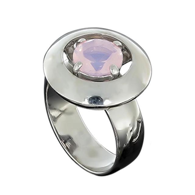 Перстень Женский 644 Кварц Розовый Rhodium