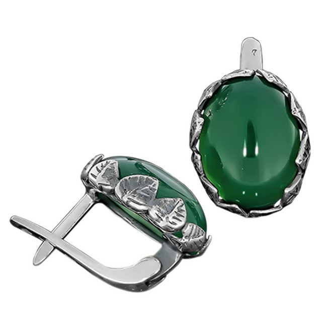 Серьги 657 Агат Зеленый Rhodium