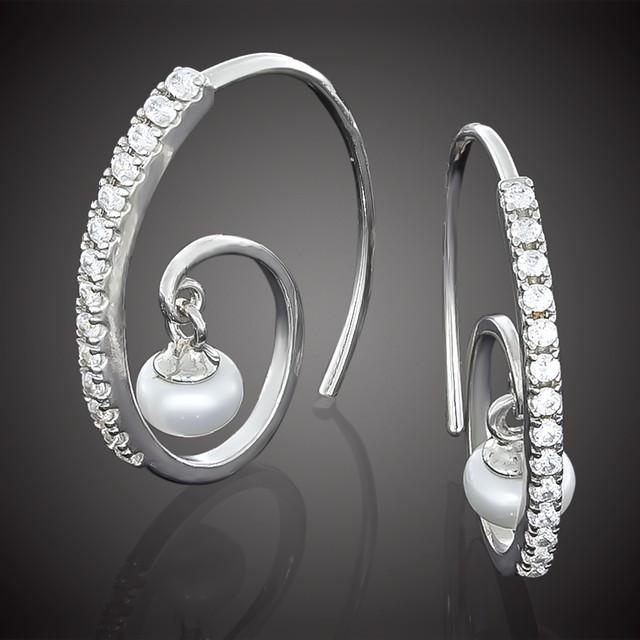 Серьги 659 White Pearls Rhodium