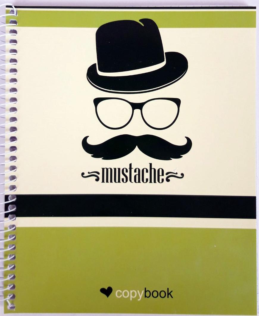 """Блокнот для заметок В5, бок. пружина, 60 листов офсет, клетка """"Серия Mustache"""", обложка мягкая Ц355035У"""