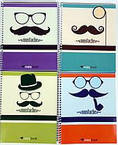 """Блокнот для заметок В5, бок. пружина, 60 листов офсет, клетка """"Серия Mustache"""", обложка мягкая Ц355035У, фото 3"""