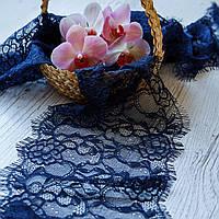 Французское кружево (шантильи) / цвет темно-синий / ширина 17,5 см / упаковка 3 м