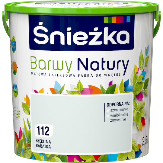 Моющаяся краска латексная Sniezka Barwy Natury 112Т ГОЛУБОЙ ЦВЕТНИК 2.5 л
