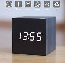 Настольные часы VST 869 Белая подсветка Черный