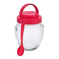 Банка стеклянная для сыпучих продуктов с пластмассовой крышкой и ложкой 1062 мл (28-42)