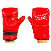 Снарядные кожаные перчатки боксерские. Цвет красный.