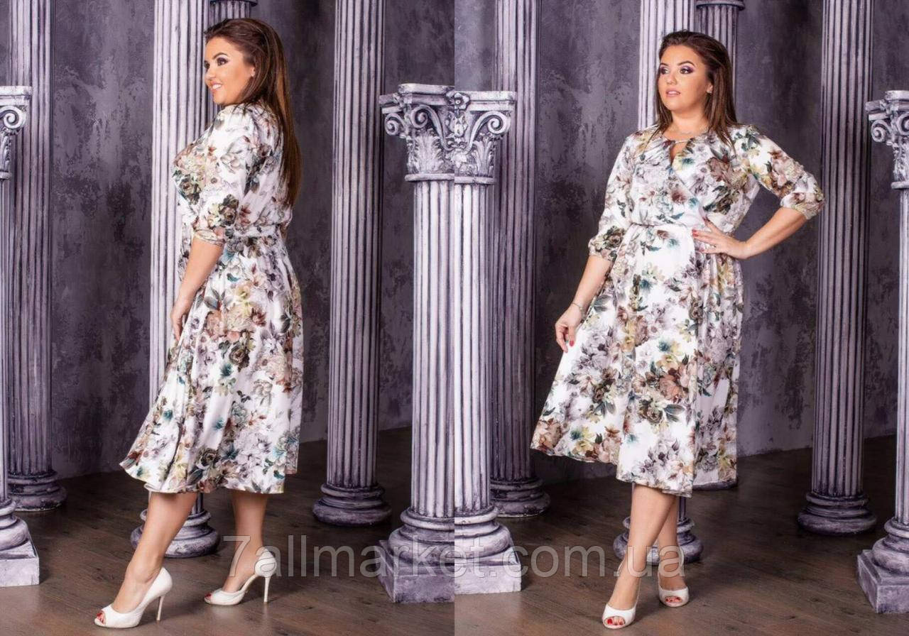 """Платье женское полубатальное с цветами, размеры 50-54 """"LYUBAVA""""купить недорого от прямого поставщика"""