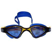 Очки для плавания, ныряния и бассейна взрослые. Цвет сине-желтые.