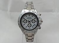 Женские часы Rolex Daytona серебристые, циферблат белый, фото 1