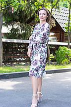 Платье летнее приталенное средней материал софт размер универсальный красные цветы на черном, фото 3