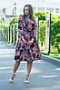 Платье летнее приталенное средней материал софт размер универсальный красные цветы на черном, фото 2