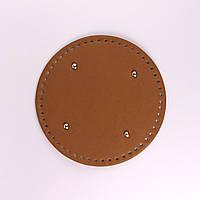 Донышко круглое для сумки экокожа Браун Ø 22 см с ножками фурнитура серебро