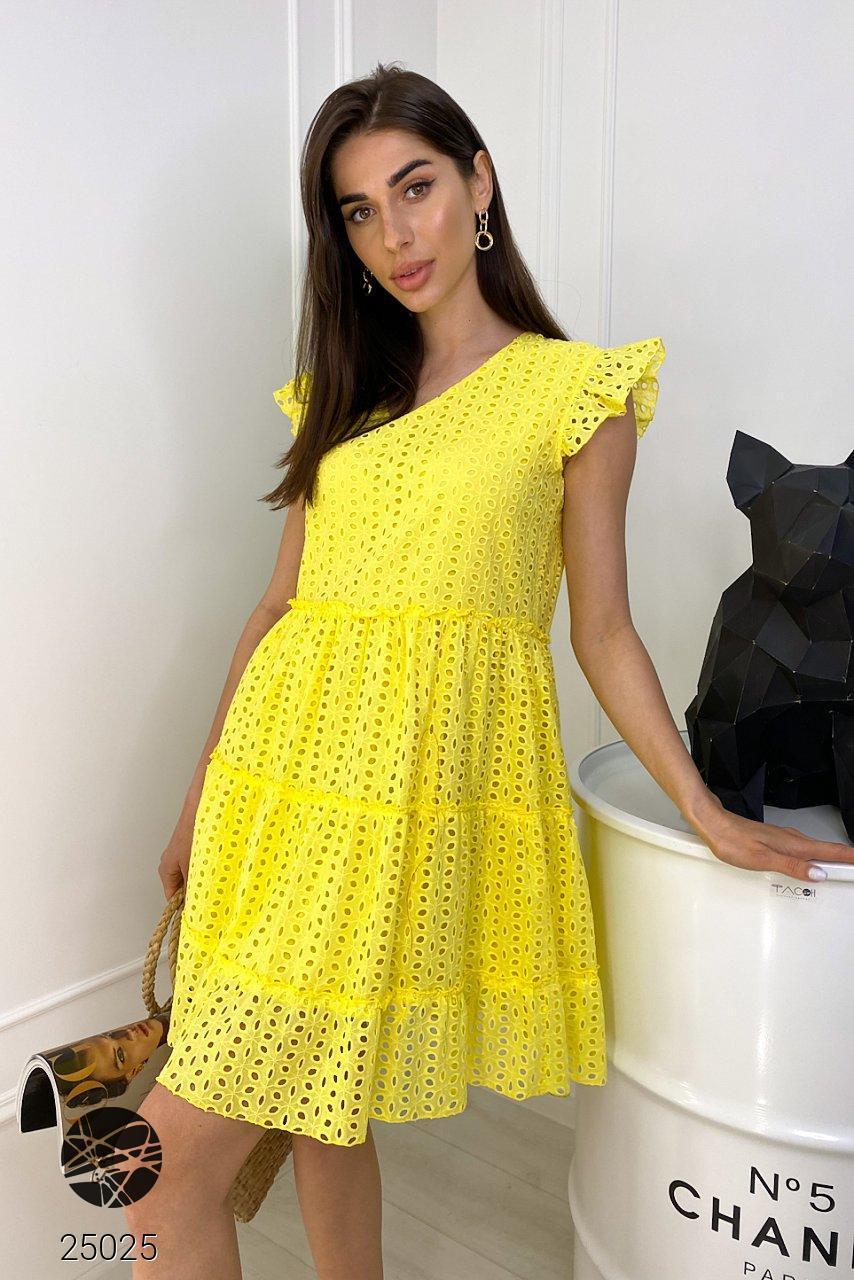 Летнее платье желтого цвета с отделкой кроше. Модель 25025. Размеры 42-48