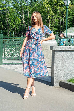 Платье женское с поясом классического стиля красные листья на темно-синем, фото 2