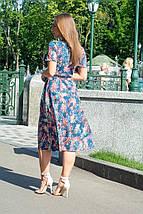 Платье женское с поясом классического стиля красные листья на темно-синем, фото 3