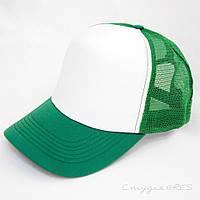 Кепка тракер зелено-белая, унисекс