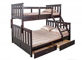 "Двухъярусная кровать ІМІЛАР ""Лотос-2"" 1900х1200(900)  бук, темный орех"