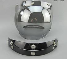Зеркальный бабл визор под мото шлем каску ретро Полулицевик, фото 2