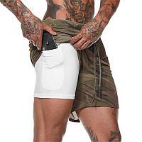 Спортивные шорты с карманом для телефона, мужские шорты-тайтсы хаки темный 25-0084
