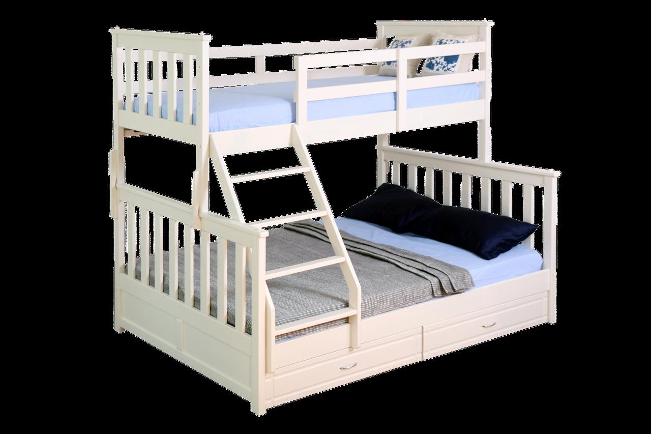 """Двухъярусная кровать ІМІЛАР """"Лотос-2"""" 2000х1400(900)  сосна, белая"""