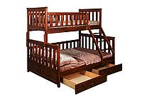 "Двухъярусная кровать ІМІЛАР ""Лотос-1"" 2000х1400(900)  сосна, темный орех"
