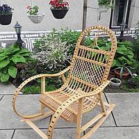 Плетеная кресло-качалка из лозы+ротанг в натуральном цвете розборное