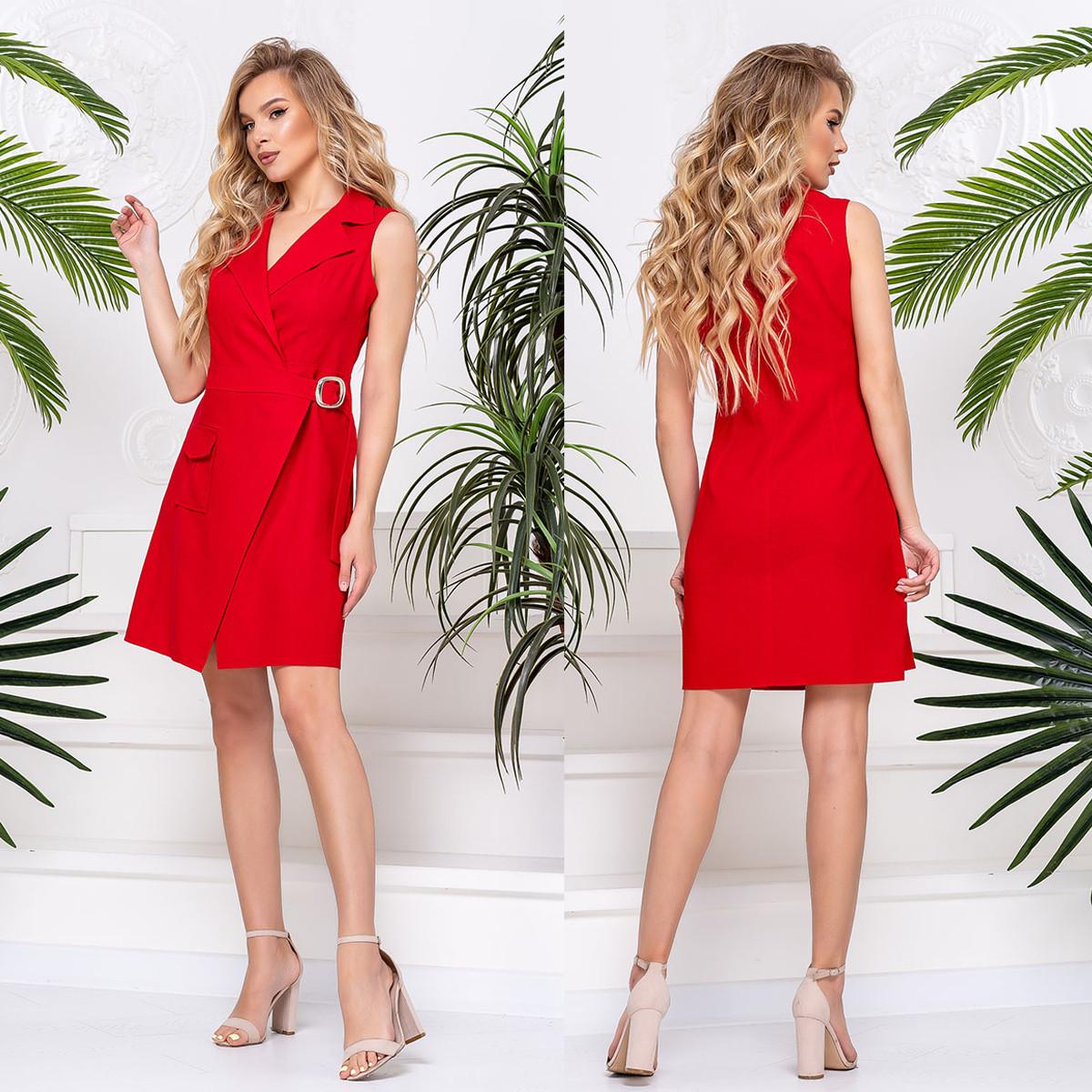 """Платье красное женское летнее из льна """"Саманта"""""""